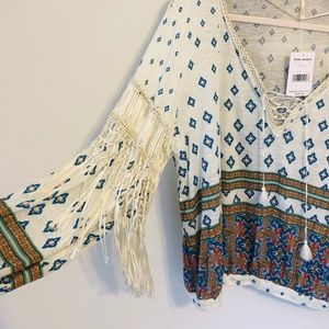 Free People Ivory Combo Flowy Top